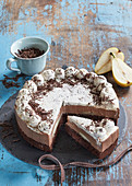 Double filling cake with pears in caramel