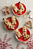 Nut biscuits in bear, snowman, and male shape