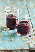 Sour cherry jam with caramel and cinnamon