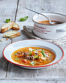 Soup with beef mincemeat