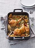 Baked chicken legs in sauerkraut