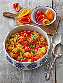 Spicy pasta with red pepper