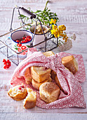 Sweet pastries with custard and red currant