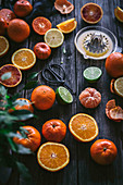 Different varieties of citruses on the table