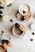Chocolate Tahini biscotti cookies and gingerbread latte