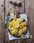 Potato chips with rosemary