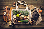 Ingredients for vegan cooking (zero waste and plastic free concept)