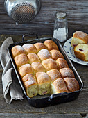 Plum sweet buns with marchpane