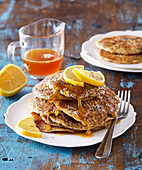 Poppy seed and lemon pancakes with honey
