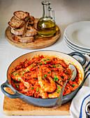 Gameberretti all busara served with italian crusty bread