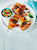 Grilled Surf and Turf with cucumber tomato sambal