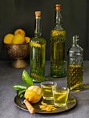 Homemade Italian Limoncello liqueur