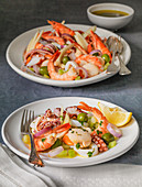 Italian Seafood salad - Insalata di Mare - served with a lemon dressing