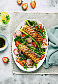 Strawberry and asparagus salad with salmon