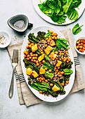 Quinoa with chickpeas and broccolini