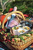 Picnic basket with pumpkin soup, champagne and bread