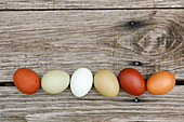 Six natural colored eggs on wooden board