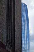 Tate Modern and glass building, London, UK