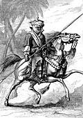 Bodyguard of a Nigerian chief, 19th century illustration