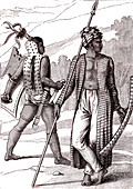 Warriors of the Ombai and Guebe islands, illustration