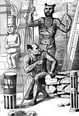 New Zealand men, 19th century illustration
