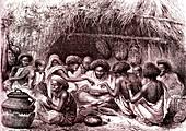 Roasting coffee, Somalia, 19th century illustration