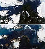 Antarctic ice melt due to heat wave, satellite image