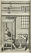 Weighing device, 18th century illustration