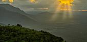 Sunset over the Nilgiri mountains, India
