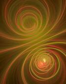 Orange swirls fractal illustration.
