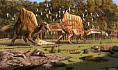 Spinosaurus dinosaurs, illustration