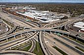 Freeway interchange, aerial photograph