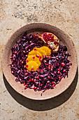 Rotkoh-Orangensalat mit Granatapfel