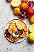 Lemon pancakes with citrus fruits
