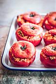 Baked quinoa stuffed tomatoes