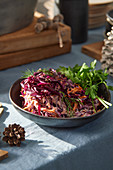 Coleslaw made from red cabbage and carrots