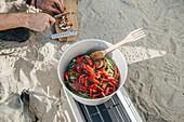 Essen im Freien zubereiten
