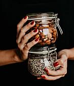 Sustainability - plastic-free storage in glass jars