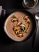 Cream of mushroom soup with rosemary