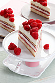 Raspberry and creamy layered cake