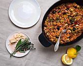 One pot rice with quinoa, vegetables and olives