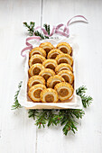Pistachio and marzipan tree trunks cookies