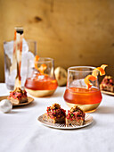 Tatar canapes with wholegrain mustard, Boulevardier cocktails (Christmas)