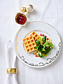 Cheese waffles with lettuce and lingonberry dressing (Christmas)