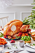Christmas roast turkey with various side dishes