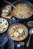 Sourdough soup with sausage and potatoes (zalewajka, zurek)