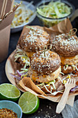 Turkey burgers with mushrooms instead of buns