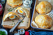 Meatloaf with eggs in puff pastry