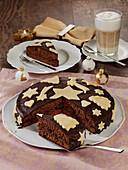 Chocolate cake with marzipan decoration