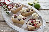 Vegan mini raspberry and lime cakes
